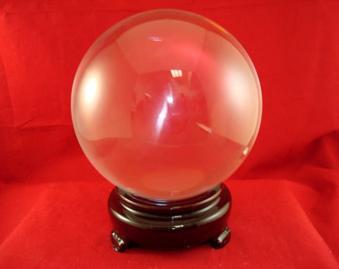 Large Crystal Ball, 70mm Clear Gazing Sphere with Stand
