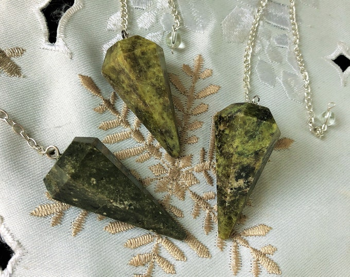 Vesuvianite Crystal Pendulum infused with Reiki /  Healing Crystals and Stones Jewelry