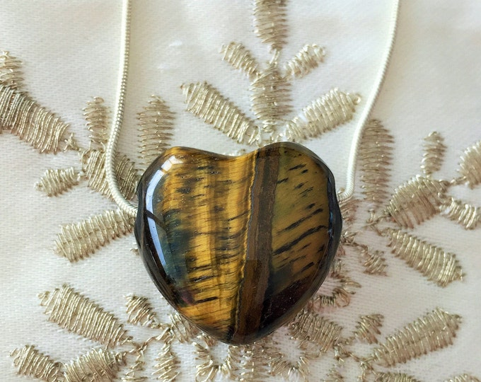 Anniversary Gift / Tiger Eye HEART Necklace w/ Reiki / Gift for Him