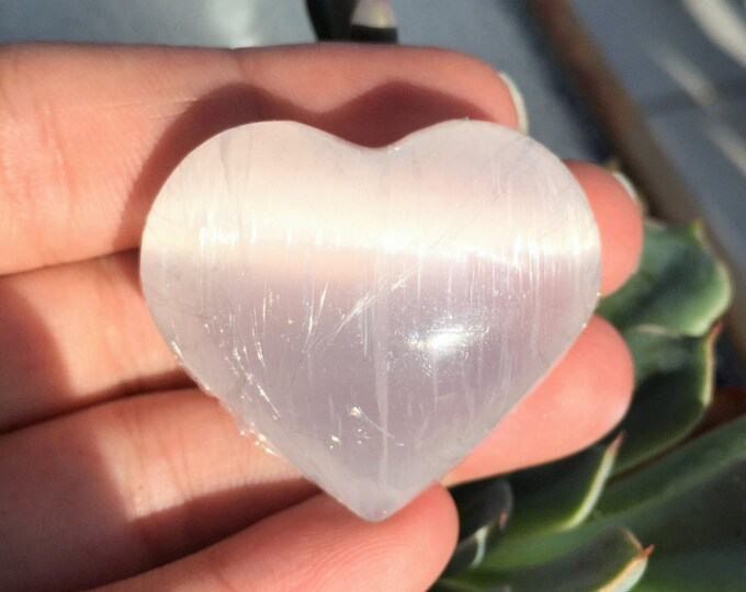 Selenite Heart, One of a Kind Crystals and Stones Great for Mother's Day Gift