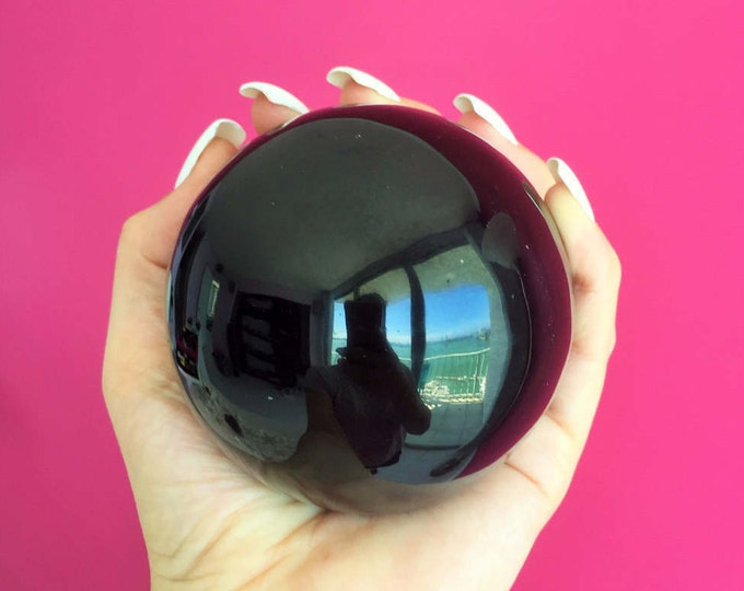 Large Crystal Ball w/ Gladd Stand 3 inches Black Obsidian Sphere