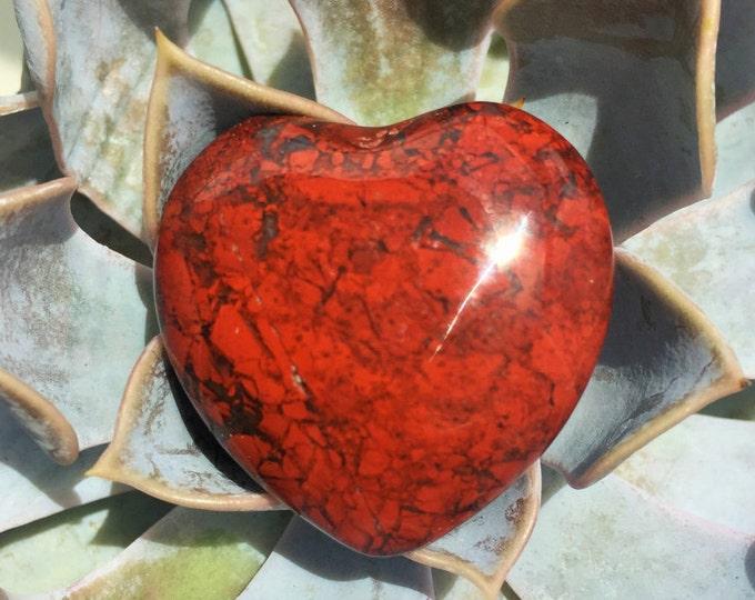 Red  Breciatted Jasper Heart Crystal