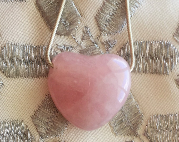 Rose Quartz Heart Healing Pendant Jewelry Necklace with Reiki