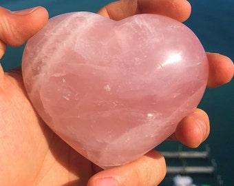 Valentines Gift for Her from Him, Large Rose Quartz Heart w/  Reiki. Crystal Grid, Meditation Altar Tool. Zen Home