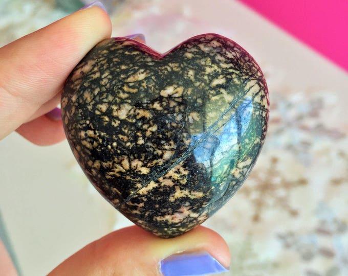 Black Rhodonite Heart / Crystal Heart / Girlfriend Gift / Love Crystals