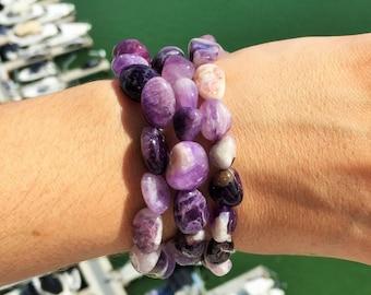Amethyst Bracelet / Chevron Amethyst Healing Crystals and Stones / Yoga, Mediation, Chakras Bracelet Jewelry