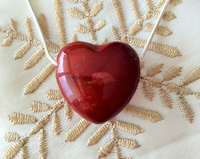 Red HEART Necklace / Anniversary Gift for Her - Heart Jewelry -  Romantic Gift