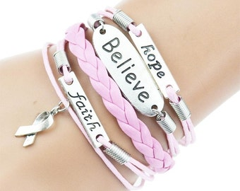 Leather Bracelet for Women / Breast Cancer Gifts for Women, Gift Ideas
