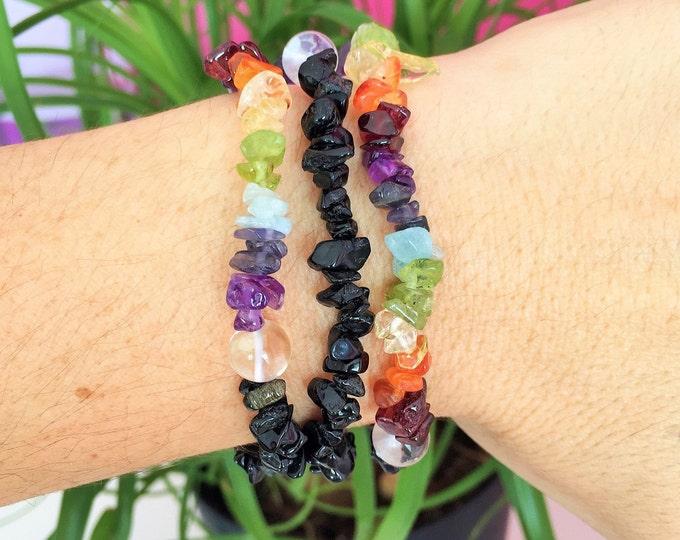 7 Chakra Healing Bracelet, Crystal Healing, Meditation Bracelet, Yoga Bracelet, Healing Crystals, Adjustable