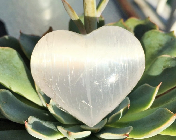Large Selenite Heart w/ Reiki Perfect Gift for Mother's Day Gifts