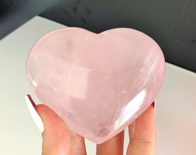 Large Rose Quartz Heart Perfect for Relationship Crystal Grids