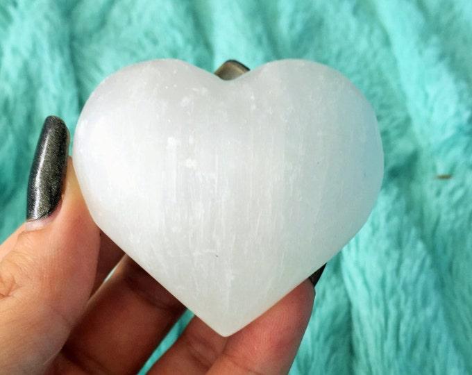 Selenite Stone Heart w/  Reiki Handmade Crystal Heart, One of a Kind Hearts