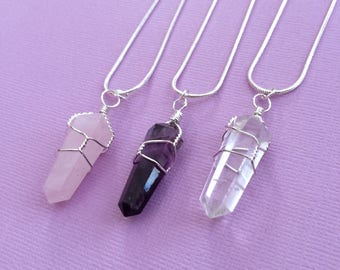 Wire Wrap Crystal Pendant, Healing Crystal Necklace, Crystal Jewelry Set, Rose Quartz, Amethyst, Clear Quartz