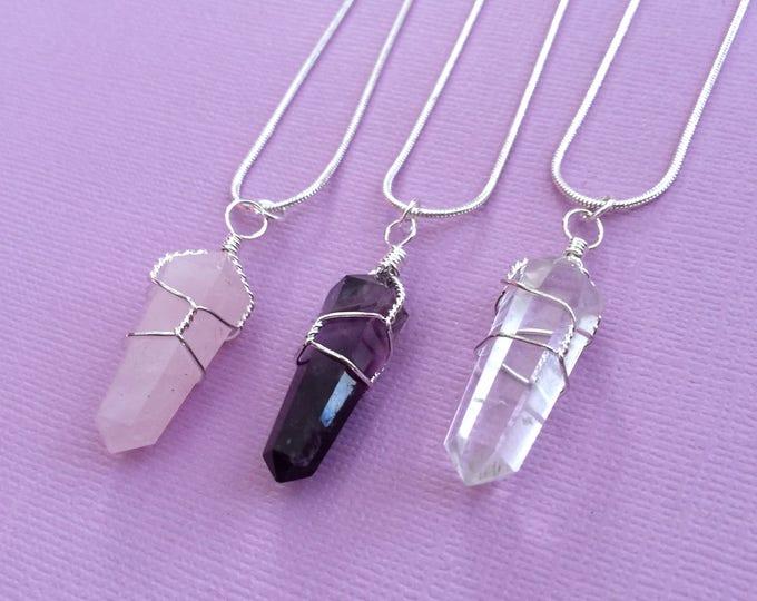 Wire Wrap Crystal Pendant, Healing Crystal Necklace, Crystal Jewelry Set, Rose Quartz, Amethyst, Clear Quartz