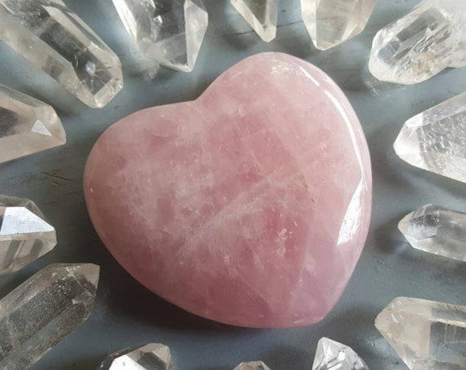 Rose Quartz Crystal Heart, Healing Stone, Heart Chakra, Wicca Meditation, Last Minute Gift,