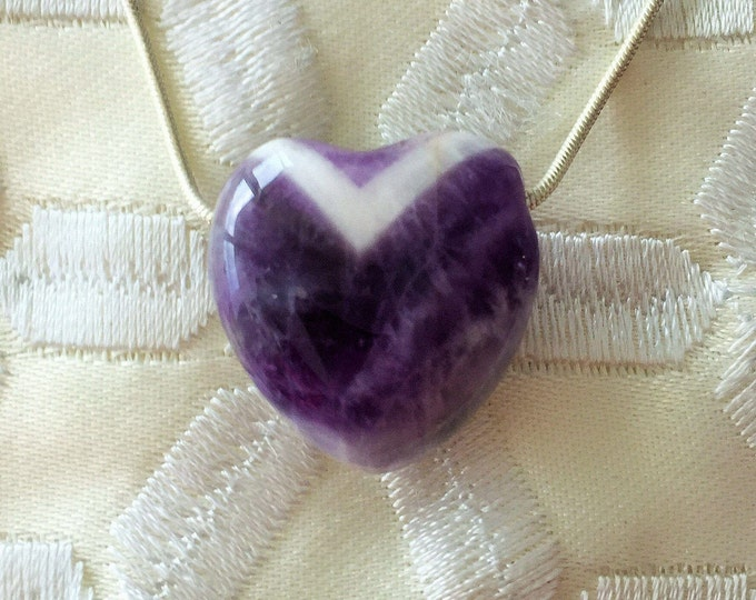 Amethyst HEART Necklace infused w/ Reiki