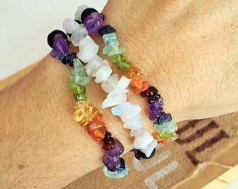 Chakra Crystal Healing Bracelet w/ Rainbow Moonstone Gemstones, Reiki Jewelry