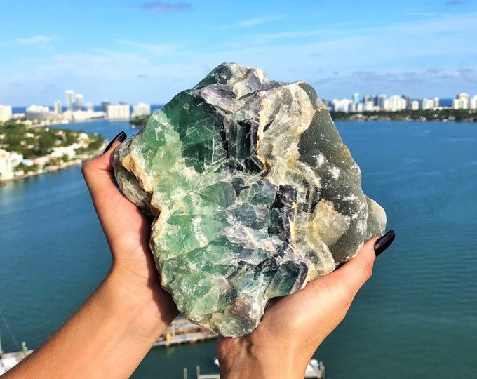 Large RAW Green Rainbow Fluorite
