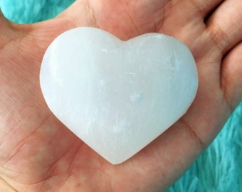Selenite Stone Heart w/  Reiki Handmade Crystal Heart, One of a Kind Mother's Day gifts