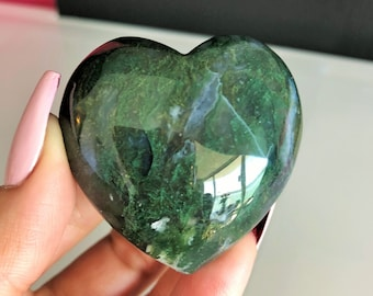 Crystal Heart, Large Moss Agate Heart w/ Reiki/ Healing Crystals and Stones