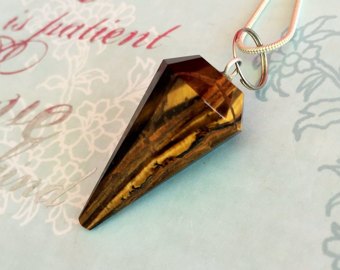 Tigers  Eye Pendulum for Necklace / Dowsing Pendulum