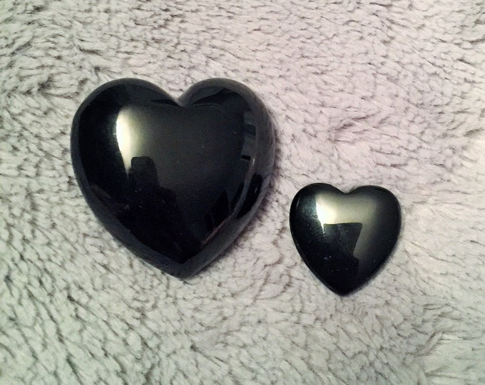 Black Obsidian Heart SET, Obsidian Crystal Hearts, Healing Crystals and Stones w/ Reiki. Crystal Grid, Chakras, Meditation