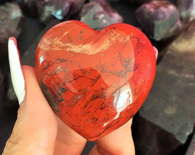 Mookaite Heart Stone, Large Red Jasper Crystal Great Gift for Her, Healing Heart Chakra, Increasing Sex Drive, Crystal Grid
