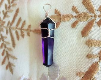 Amethyst Pendant / Wire Wrap Jewelry / Amethyst Pendulum Jewelry