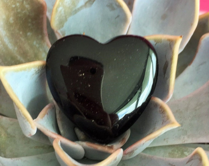 Crystal Heart Black Obsidian Protection Healing Stones