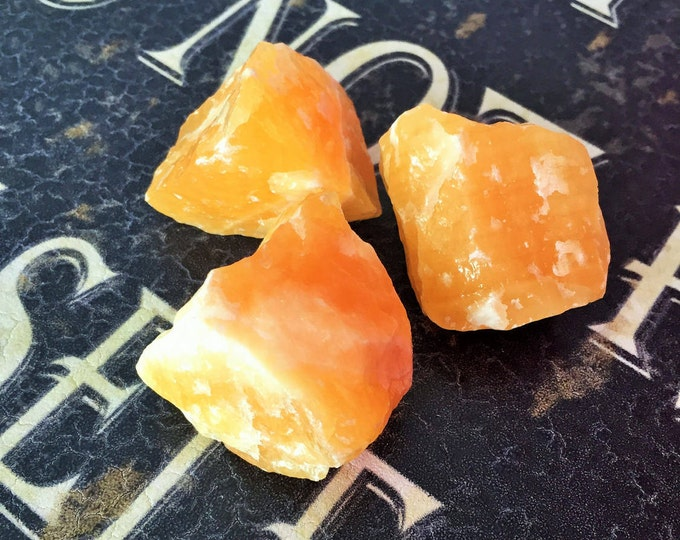 3 Large Orange Calcite Crystals