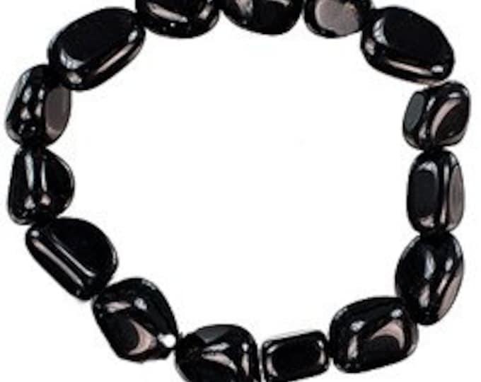 Black Obsidian Bracelet, Mens Bracelet / Protection Amulet Bracelet / Boyfriend Gift