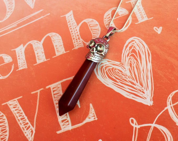 Healing Pendant Red Jasper Pendulum Necklace /  Healing Crystals