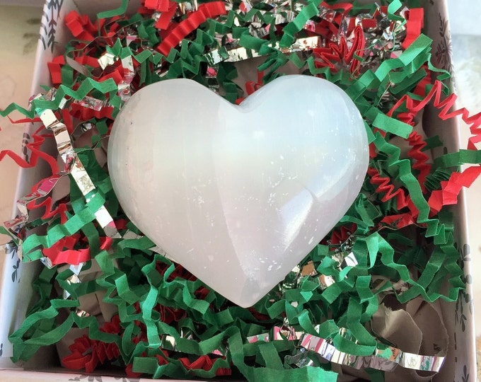 Large Selenite Heart / NATURAL Healing Crystals and Stones Great for Crystal Grids, Girlfriend / Mothers Day Gift Idea