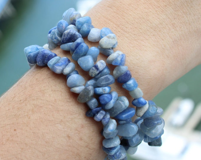 Blue Calcite Stretch Bracelet perfect for balancing the your Throat Chakra