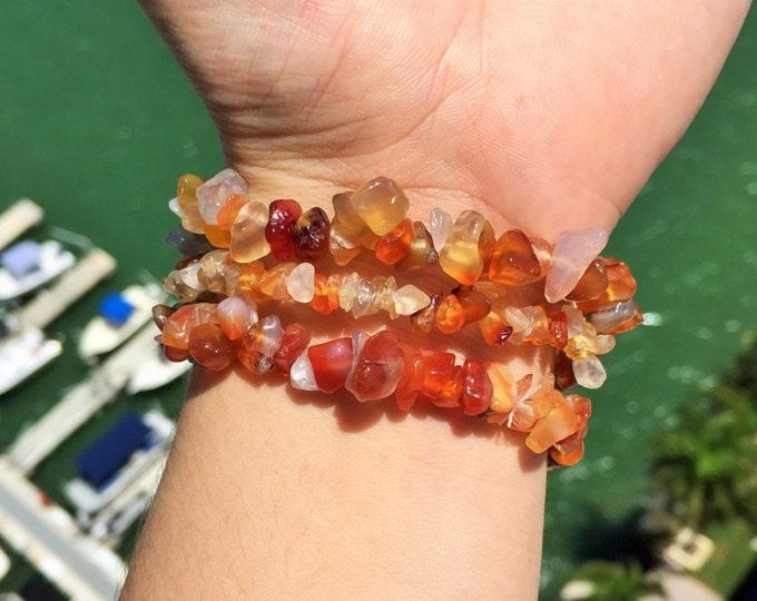 3 Carnelian Crystal Bracelet SET/ Carnelian Jewelry