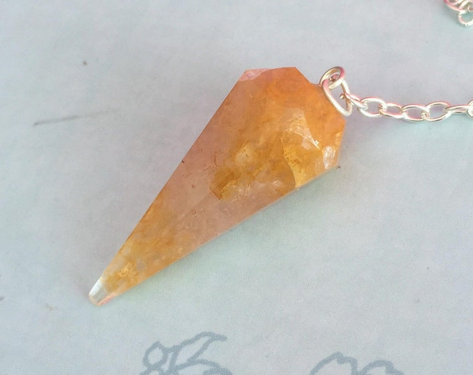 Pendulum Crystal Yellow Crackle Quartz for Wicca, Meditation Altar Tool