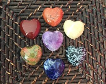 Chakra Crystal Hearts Set Great Healing Crystals and Stones for Balancing Chakras, Crystal Healing Charged w/ Reiki