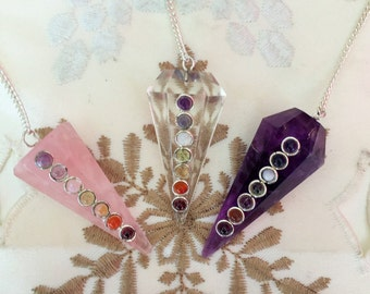 Pendulum Crystal Necklace SET with Reiki for Healing Chakras, Aura, Wicca, Altar Tool