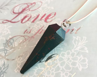 Bloodstone Crystal Pendulum Necklace for Healing, Reiki, Wicca, New Age Gift