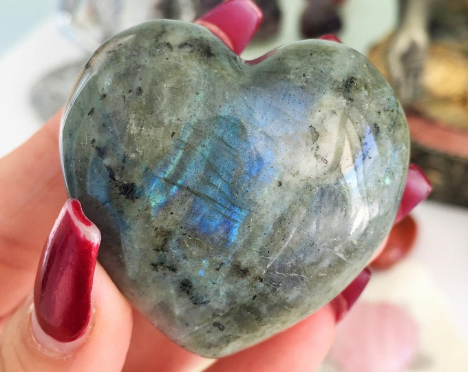Labradorite Heart / Crystal Hearts Powerful for Healing, Chakras, Meditation