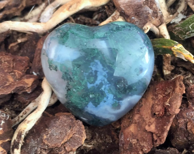Moss Agate Heart infused with Reiki/ Healing Crystals and Stones