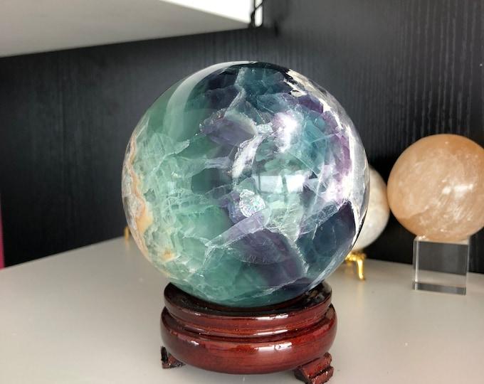 Large Crystal Ball / Rainbow Fluorite Crystal Ball, Altar Tool, Home Decor