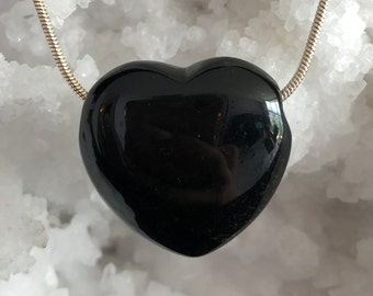 Crystal Heart, Black Obsidian Jewelry Necklace Set