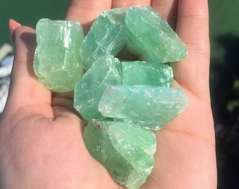 Green Calcite MEDIUM Crystal Stone Perfect for Reiki, Crystal Grids, Jewelry Making Supplies