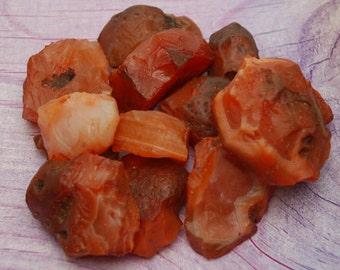 5 Raw Carnelian Natural Stones Perfect for Reiki, Crystal Grid, Sacral Chakra