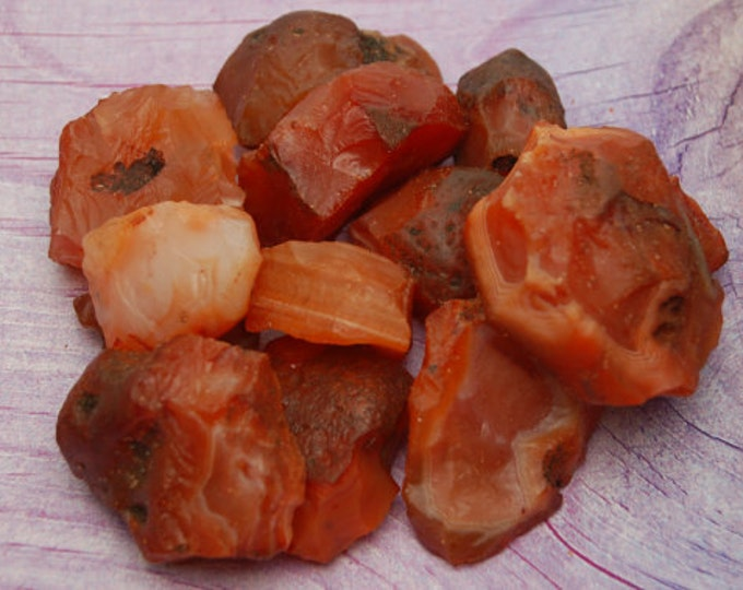5 Raw Carnelian Natural Stones Perfect for Reiki, Crystal Grid, Sacral Chakra