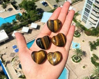 Wholesale Crystals and Gemstones / Heart 10 Tigers Eye Hearts / Healing Crystals