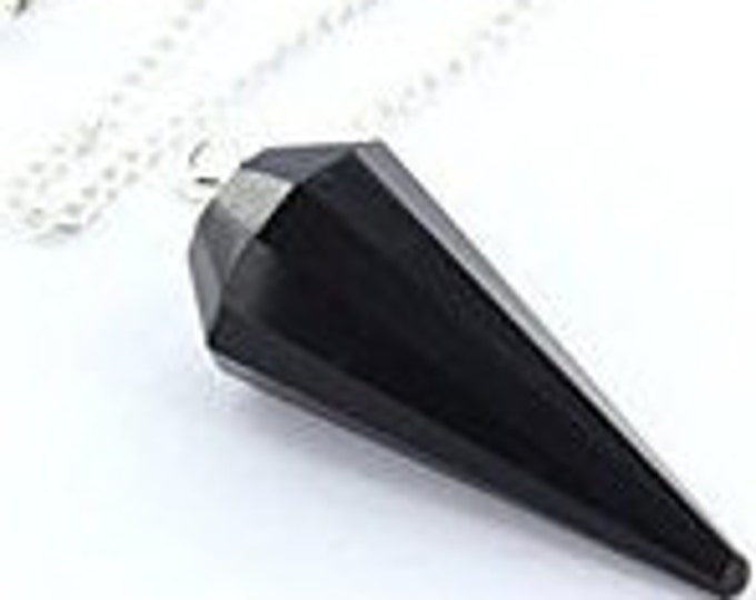 Pendulum Dowsing Pendulum, Black Tourmaline, Healing Crystals and Stone for Protection, Amulet Stone