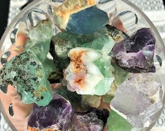 Rainbow / Green Fluorite Medium RAW Stones
