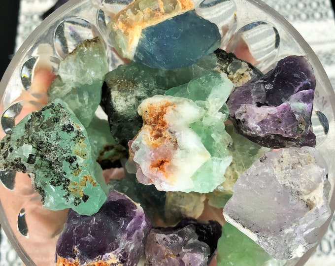 Rainbow / Green Fluorite Medium RAW Stones